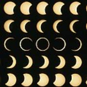 Time-lapse Image Of A Solar Eclipse Poster by Dr Fred Espenak