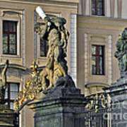 Titans Battling Outside Prague Castle Poster by Christine Till