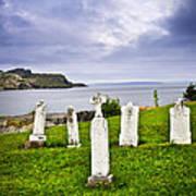 Tombstones Near Atlantic Coast In Newfoundland Poster by Elena Elisseeva