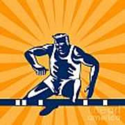 Track And Field Athlete Jumping Hurdles Poster by Aloysius Patrimonio