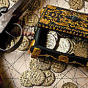 Treasure Box With Old Pistol Poster by Garry Gay