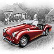 Triumph Tr-2 Sports Car In Red Poster by David Kyte
