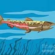Trout Fish Retro Poster by Aloysius Patrimonio