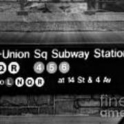 Union Square Subway Station Bw Poster by Susan Candelario