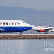 United Airlines And Virgin America Airlines Jet Airplanes At San Francisco International Airport Sfo Poster by Wingsdomain Art and Photography
