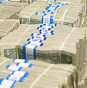 Us Dollar Bills In Bundles Poster by Adam Crowley