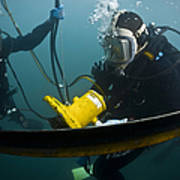 U.s. Navy Diver Instructs A Barbados Poster by Stocktrek Images
