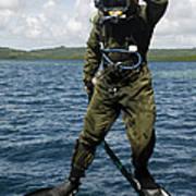U.s. Navy Diver Jumps Off A Dive Poster by Stocktrek Images