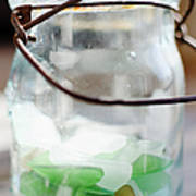 Usa, New York State, New York City, Brooklyn, Sea Glass In Jar Poster by Jamie Grill