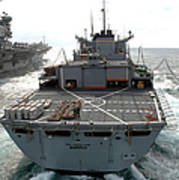 Usns Supply Conducts A Replenishment Poster by Stocktrek Images