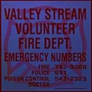 Valley Stream Fire Department In Blue Poster by Rob Hans
