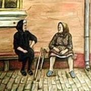 Village Gossip Poster by Linda Nielsen