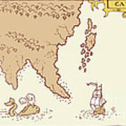 Vintage Map Treasure Island Tall Ship Whale Poster by Aloysius Patrimonio