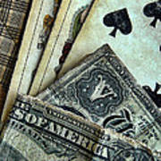 Vintage Playing Cards And Cash Poster by Jill Battaglia