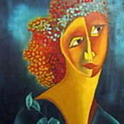 Waiting For Partner Orange Woman Blue Cubist Face Torso Tinted Hair Bold Eyes Neck Flower On Dress Poster by Rachel Hershkovitz