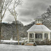 Warm Gazebo On A Cold Day Poster by Brett Engle