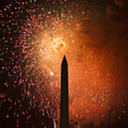Washington Monument And Fireworks I Poster by Phil Bolles