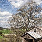Weathered Hillside Barn Spring Poster by John Stephens