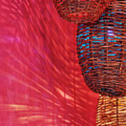 Wicker Light Shades And Pink Wall Poster by Jeremy Woodhouse