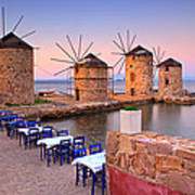 Windmills 2  Poster by Emmanuel Panagiotakis