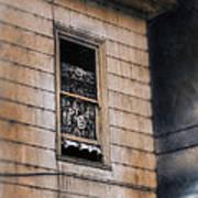 Window In Old House Stormy Sky Poster by Jill Battaglia