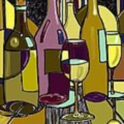 Wine Bottle Deco Poster by Peggy Wilson