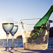 Wine Glasses And Bottle Outdoors Poster by Bill Holden