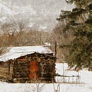 Winter Cabin 2 Poster by Ernie Echols