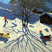 Winter Hillside Morzine France Poster by Andrew Macara