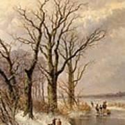 Winter Landscape With Faggot Gatherers Conversing On A Frozen Lake Poster by Josephus Gerardus Hans