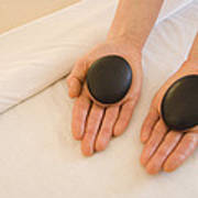 Woman Massage Therapist Hands Holding Poster by James Forte