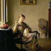 Woman Sewing Poster by William McGregor Paxton