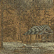 Woodcut Cabin Poster by Jim Finch