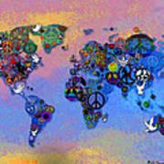 World Peace Tye Dye Poster by Bill Cannon