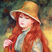 Young Girl With Long Hair Poster by Pierre Auguste Renoir