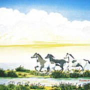 Indian Ponies Poster by Jerome Stumphauzer