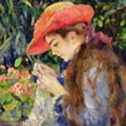 Marie Therese Durand Ruel Sewing Poster by Pierre Auguste Renoir