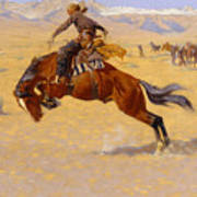 A Cold Morning On The Range Poster by Frederic Remington
