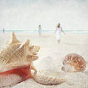 Beach Scene With People Walking And Seashells Poster by Sandra Cunningham