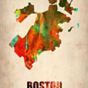 Boston Watercolor Map  Poster by Naxart Studio