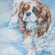Cavalier King Charles Spaniel Blenheim In Snow Poster by Lee Ann Shepard