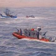 Coast Guard In Pursuit Poster by William H RaVell III