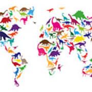 Dinosaur Map Of The World Map Poster by Michael Tompsett