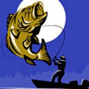 Largemouth Bass Fish And Fly Fisherman Poster by Aloysius Patrimonio