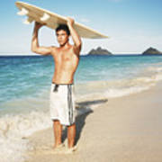 Man At The Beach With Surfboard Poster by Brandon Tabiolo - Printscapes