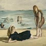 On The Beach Poster by Edouard Manet