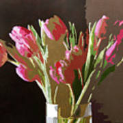 Pink Tulips In Glass Poster by David Lloyd Glover
