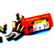 Pop Art Of .45 Cal Bullets Comming Out Of Pill Bottle Poster by Michael Ledray