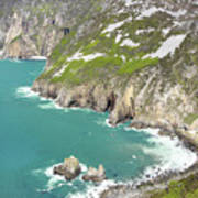 Tall Sea Cliffs Of Slieve League Donegal Ireland Poster by Pierre Leclerc Photography