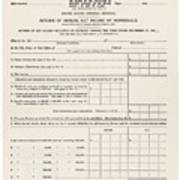 1913 Federal Income Tax 1040 Form. The Poster by Everett